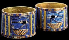 Bracelets of Sheshonq II, from the Tomb of Sheshonq II at Tanis (gold, lapis lazuli, carnelian and faience, height: cm) Ancient Egyptian Dress, Ancient Egyptian Jewelry, Egyptian Temple, Egyptian Symbols, Egyptian Goddess, Egyptian Mythology, Collier Antique, Egypt Museum, Statues
