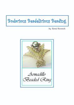 Pearl and layered peyote beaded ring by Beadebonair on Etsy, $7.50