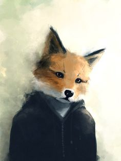 love the fact that this fox is wearing a hoodie