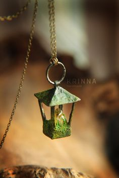 Forest polymer clay and copper/pewter lantern with citrine fire. Fimo Clay, Polymer Clay Art, Polymer Clay Jewelry, Biscuit, Forest Decor, Polymer Beads, Fantasy Jewelry, Fantasy Art, Clay Design