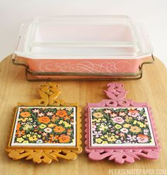 pyrex and trivets.