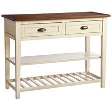 "Carmichael Buffet - Antique Ivory $319 Ivory/pecan brown 48""W x 19""D x 36""H Engineered wood, pine"