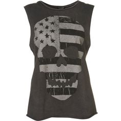 Flag Skull Tank (€13) ❤ liked on Polyvore featuring tops, shirts, tank tops, blusas, t-shirts, charcoal, skull shirt, cotton tank top, skull tank top and cotton shirts