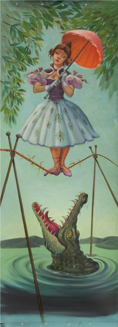 "Tightrope Walker aka Alligator Girl        Original Illustration by Harper Goff        (Fun Fact - A major highlight of Hollywood Auction 43; held Dec. 17, 2010, a private  collector walked away with this 42 x 121"" hand painted, acrylic Disney memorabilia for the nominal price of $47,500)"