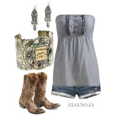 A fashion look from August 2011 featuring frilly tops, vintage distressed shorts and cowgirl style boots. Browse and shop related looks. Country Style Outfits, Country Girl Style, Country Fashion, Country Girls, Southern Style, Country Wear, Top Country, Southern Charm, Summer Outfits