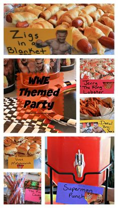 Planning parties is always fun and planning a WWE Theme party is not exception for me. WWE Parties occur at our home about once a year around Wrestlemania. Wrestling Birthday Parties, Wrestling Party, Wwe Birthday, Kids Birthday Themes, 6th Birthday Parties, Theme Parties, Baseball Birthday, Baseball Party, Cena Wwe