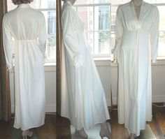Val Mode Ivory Long Nylon Nightgown w Sleeves Quilted Accents Medium  #ValMode #Gowns