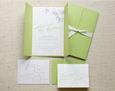 Gate-fold wedding invitation and thank you note. #invitation #wedding #green