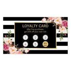 Loyalty Card Vintage Gold Floral Beauty Salon #loyalty #cards