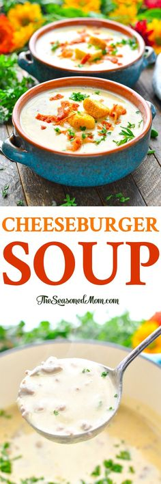Cozy up with a warm bowl of creamy, soul-satisfying Cheeseburger Soup! Ground Beef Recipes | Soup Recipes | Easy Dinner Recipes #soup #beef #dinner