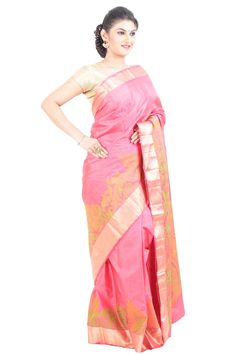 Light Pink Uppada Silk Shari Crafted with Floral Bud Motives