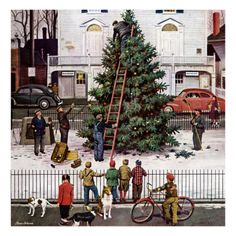 """Tree in Town square,"" 12/4/1948 by Stevan Dohanos"