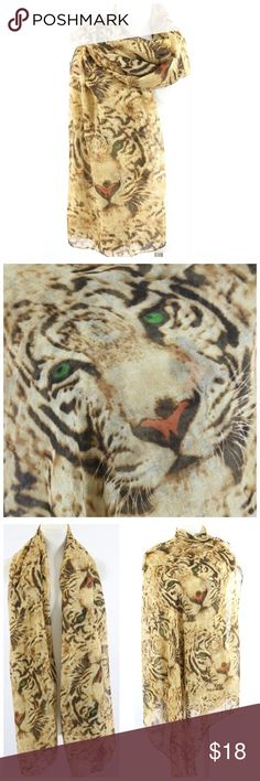 """B109 Tiger Face Brown Black Animal Scarf ‼️PRICE FIRM‼️ Leopard Face Scarf Wrap Retail $84 Absolutely spectacular scarf. Shades of browns and black with bold eyes. Please check my closet for many more items including clothing and jewelry. Length is approximately 74"""" 40"""" wide Accessories Scarves & Wraps"""