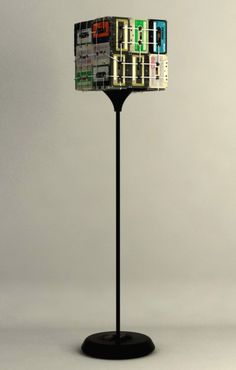 Floor lamp made from old cassettes.