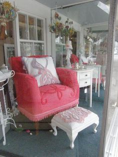 <3 Pink chenille chair-interesting