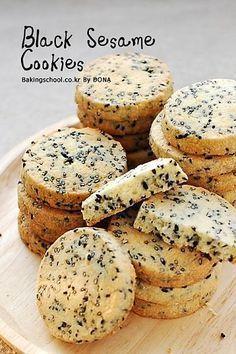 검은깨 쿠키 Cookie Desserts, Sweet Desserts, Cookie Recipes, Biscuit Cookies, Biscuit Recipe, Sesame Cookies, Galletas Cookies, Bread Cake, Cafe Food
