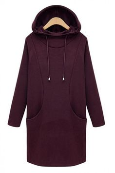 A casual sweatshirt dress for your casual days out and about. Crafted from high quality and skin-friendly material,comfortable to wear. Solid color style,with long sleeve and hoodie design. In cold days,you can pair it with your coats and leggings. Hoodie Sweatshirts, Purple Long Sleeve Dress, Dress Long, Purple Dress, Sleeve Dresses, Long Dresses, Dress Red, Evening Dresses, Wine Red Dress
