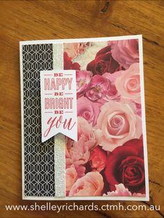 La Vie En Rose paper; White Shimmer Tape; Love Right Now stamp set (D1682).