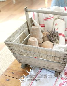 ❤ the vintage grain sack fabric, especially when it has red stripes or lettering: homebound magazine