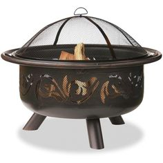 UniFlame 32 Inch Oil Rubbed Bronze Firebowl Fire Pit With Swirl Tree Design featuring polyvore, home, outdoors, outdoor decor, uniflame, uniflame fire pit and wood burning fire pit