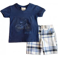 Conj. Bebê Bicicleta e Bermuda Xadrez Kids Fashion Boy, Kids Wear, Boy Outfits, Baby Boy, Bicycle, Fashion Looks, Children, Boys, T Shirt