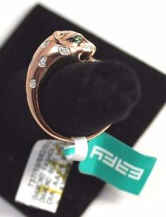 Effy 14K Rose Gold 0.07ct Diamond And Tsavorite Ring-Panther-ROSE GOLD-Size 7    #Signature