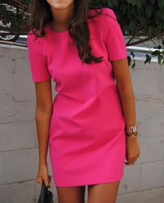 Inspirational ideas for hot pink dress outfit Look Fashion, Womens Fashion, Fashion Trends, Dress Fashion, Fashion Clothes, Latest Fashion, Dress Me Up, Pink Dress, Dress Black