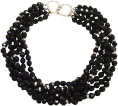 KENNETH JAY LANE-6 ROW FACETED BLACK BEADS WITH PAVE CRYSTALS-8793