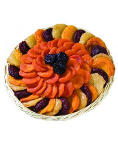 Dried Fruit Tray - A combination of ten different dried fruit snacks: Apricots, pears, nectarines, peaches, angelino plums, prunes, dates, jumbo raisins, jumbo golden raisins and figs. $24.00 at www.circlekranch.com