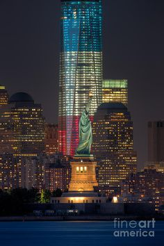 The beautiful new 1 World Trade Center all dressed in red, white, and blue~