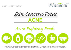 Foods such as fish, avocado, broccoli, berries, green tea and watermelon are acne fighting foods. Follow our Skin Concern Focus for information on treating and preventing acne. #FreshSkin #FreshSkinAdvice #Acne