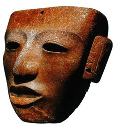 Teotihuacan mask, stone, 21 x 25.5 cm.