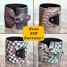 DIY Tutorial: Learn how to make this Modular Printed Leather Cuff. Free PDF pattern inside (available for free until October Sewing Leather, Leather Pattern, Leather Cuffs, Leather Pouch, Leather Belts, Leather Accessories, Leather Jewelry, Diy Jewelry Projects, Jewelry Ideas