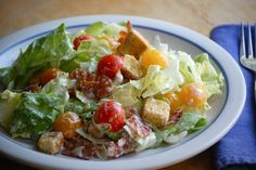 """""""BLT"""" Salad~  bacon, lettuce and tomato. :-) The dressing absolutely makes this salad! It is so de-li-cious!"""