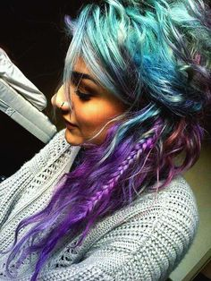 mint, turquoise and purple hair