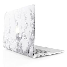 iDOO Marble Pattern Case for [ MacBook Air 13 inch ] (Model: A1369 and A1466 )- Matte Rubber Coated Hard Shell Cover - White iDoo