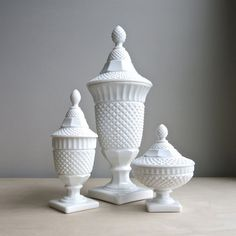 Vintage Milk Glass Covered Urn by Westmoreland, English Hobnail Pattern Lidded Jar - Small Candy Dish Westmoreland Glass, Vintage Glassware, Fenton Glassware, Vintage Pyrex, Glass Collection, Collection Displays, Apothecary Jars, Ginger Jars, Carnival Glass