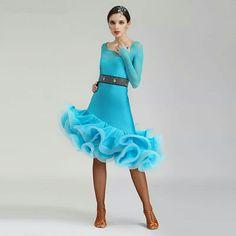 1960f99f2d New style latin dance costumes senior sexy ice silk long sleeves latin dance  dress for women latin dance dresses