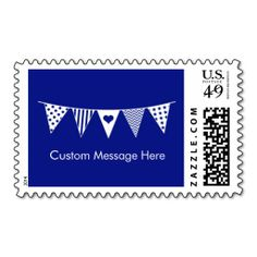 Pennant Flag Postage- Navy. This great stamp design is available for customization or ready to buy as is. Of course, it can be sent through standard U.S. Mail. Just click the image to make your own!