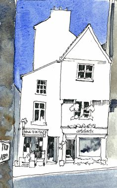 A watercolour sketch of a pair of lovely shops in Whitby, North Yorkshire. Watercolor Journal, Watercolor Sketch, Watercolor Illustration, Moleskine, Ink Drawings, Drawing Sketches, Building Illustration, Artist Journal, Sketch Inspiration