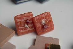 Earrings made of glass mass tiles 1.8x1.8 cm Earrings Handmade, Usb Flash Drive, Tiles, Enamel, Glass, Pink, Room Tiles, Vitreous Enamel, Drinkware