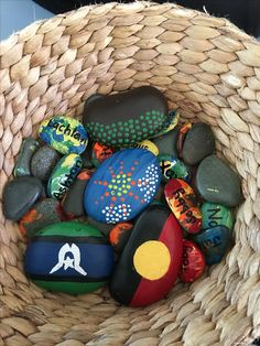 Acknowledgement to Country stones for the toddlers at Brookvale Early Learning Centre Aboriginal Art For Kids, Aboriginal Education, Indigenous Education, Aboriginal Culture, Naidoc Week Activities, Children's Day Activities, Toddler Activities, Toddler Learning, Early Learning