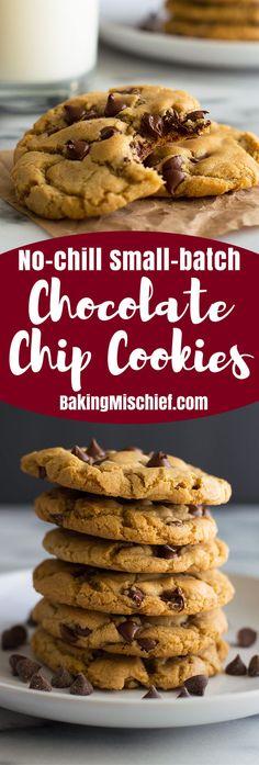 Easy small-batch chocolate chip cookies that use melted butter and require no chill time so you can enjoy them almost instantly! From BakingMischief.com