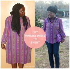 Refashion Co-op: Vintage Dress to Shirt DIY