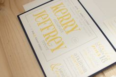 Kerry and Jeff's Wedding Invitations // yellow, grey and navy wedding invitations // custom design // paper from the Paper Source Yellow Wedding Invitations, Paper Source, Custom Design, Marriage, Blog, Grey, Style, Valentines Day Weddings, Gray