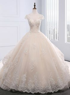 Champagne Ball Gown Tulle Beading Backless Wedding Dress