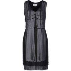Maison Margiela Knee-length Dress ($358) ❤ liked on Polyvore featuring dresses, black, knee high dresses, v neck swing dress, v neck sleeveless dress, v neck dress and tent dresses