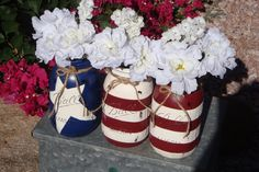 Red White and Blue Painted Ball Mason Quart Jars, Set of 3,Red White and Blue, BB-Q,Centerpiece, Gifts ,4th of July,Primitive Table Setting by ItWorks4Me on Etsy