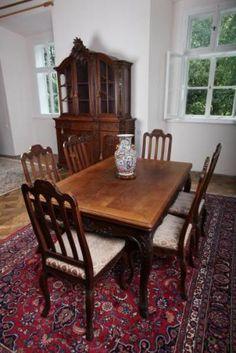 Dining Room Furniture - solid oak - 1925 Dining Room Furniture, Antique Furniture, Table And Chairs, Dining Table, Solid Oak, Antiques, Wood, Home Decor, Antiquities