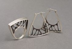 silver earrings and ring